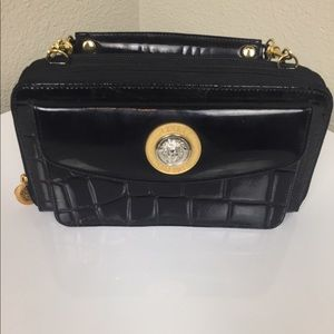 Gianni Versace Vintage Black Patent Leather Clutch
